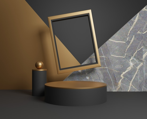 3d abstract gold and black geometric shapes