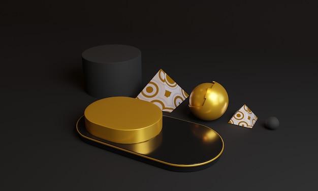 3d абстрактные золотые геометрические фигуры.