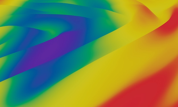 3d абстрактный градиент цвета радуги. волнистый фон лгбт.