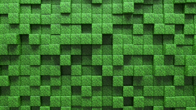 3 d の抽象的な草のテクスチャの緑のキューブの背景