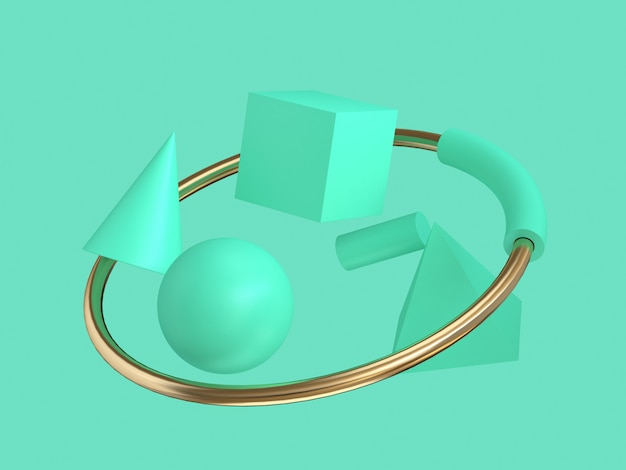 3d abstract green geometric shape and gold ring floating minimal green