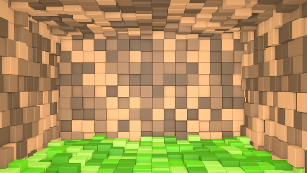 3d抽象的な緑の草とキューブの背景で作られた茶色のインテリア