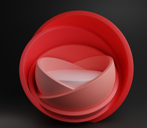 3d抽象イラストステージモックアップ製品背景シンプルモダンパステルピンクかわいい