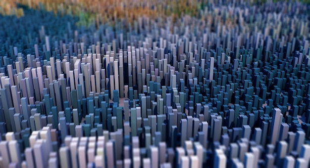 3d abstract landscape of cubes with depth of field