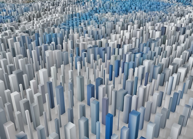 3d abstract landscape of pixel cubes extruding