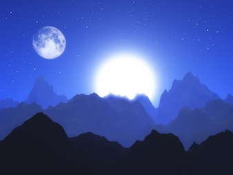 3D abstract landscape with moon and sun