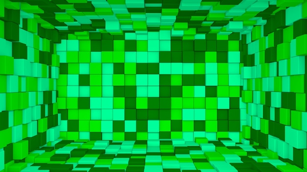 3d абстрактный светло-темно-зеленый интерьер с фоном кубов