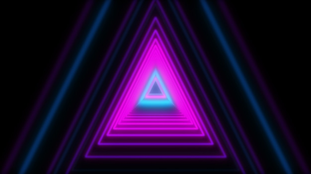 3d abstract lights neon triangles. loop animation.