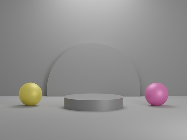 귀하의 디자인에 대 한 3d 추상 최소한의 기하학적 형태 광택 고급 연단 최소한의 3d 그림