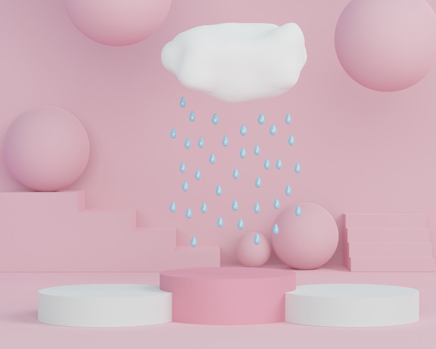 3d abstract minimal geometric forms. glossy luxury podium with clouds and raindrop for your design. fashion show stage, pedestal, shopfront in colorful theme.