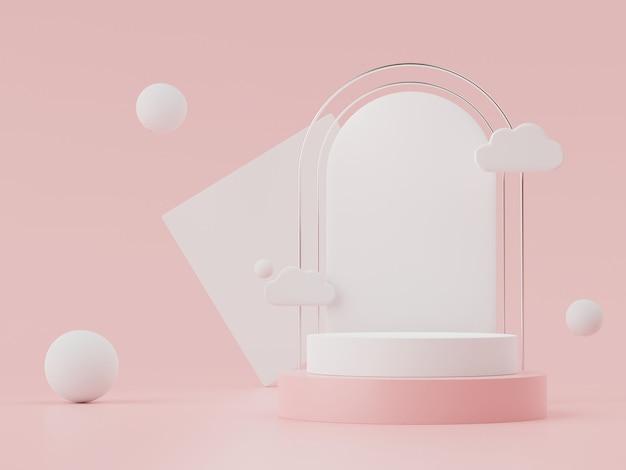 パステルの表彰台のディスプレイと化粧品のプレゼンテーションの 3 d の抽象的な最小限のシーン