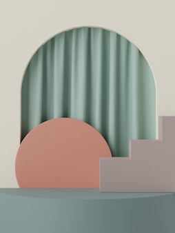 3d абстрактная минимальная сцена пастельного подиума