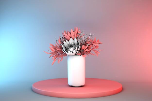 기하학적 형태와 3d 추상 최소한의 장면입니다. 흰색 꽃병에 파스텔 붉은 꽃과 실린더 연단. 봄 꽃, 여성용 선물.