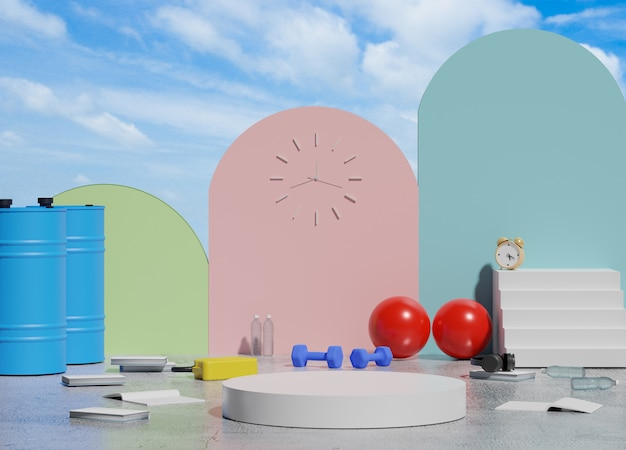 3d abstract minimalist geometric forms. glossy luxury podium for your design in trendy interior. fashion show stage, pedestal, shopfront with blue sky and clouds view.