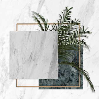 3d抽象的なモダンな最小限の背景、正方形のキャンバス、熱帯のヤシの葉と濃い青と白の大理石のテクスチャ、幾何学的なシンプルでクリーンなデザイン、空白のモックアップ