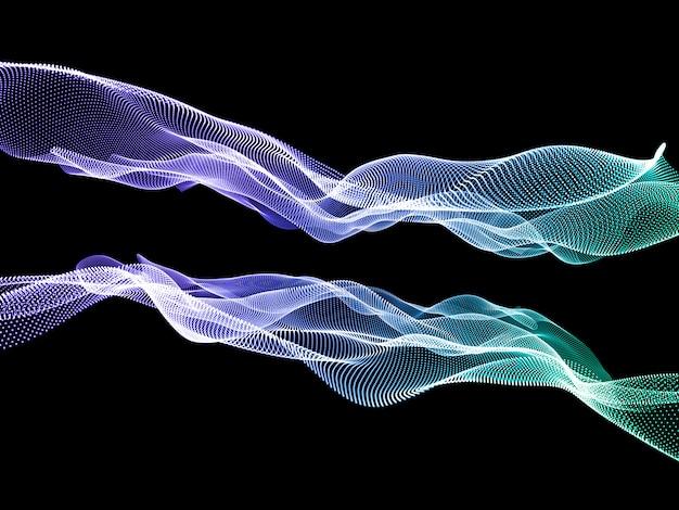 Sfondo astratto techno moderno 3d con particelle fluenti