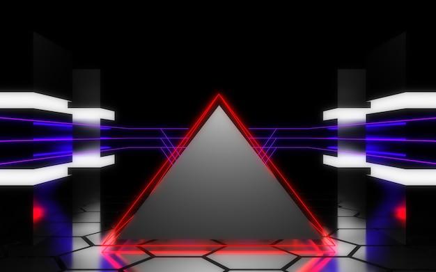 3d 추상 네온 룸입니다. 외계 원자로. 우주선. 데이터 센터 개념. 3d 그림