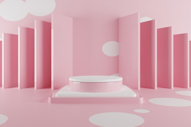 3d abstract pastel scene with pink podium.