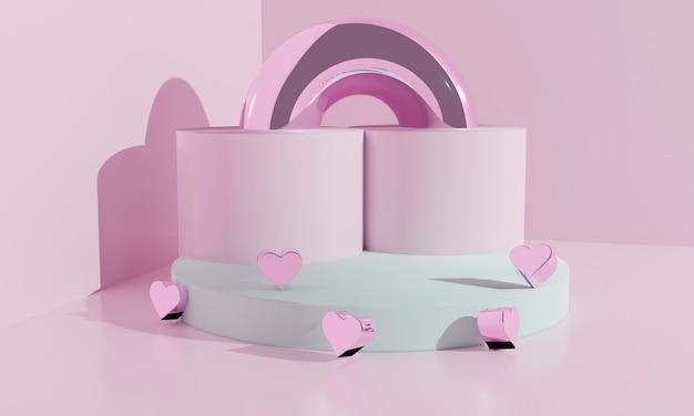 Абстрактный подиум 3d как концепция влюбленности валентинки поставить подарки и предметы. 3d иллюстрации.
