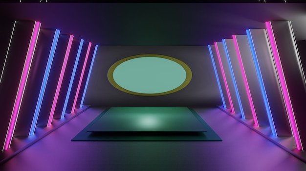 3d abstract podium, beautiful exhibition room lighting background can be used in cover design. design books, products and more.