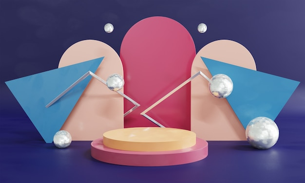3d abstract podium scene and shapes background