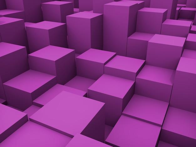 3d 추상 보라색 큐브 배경