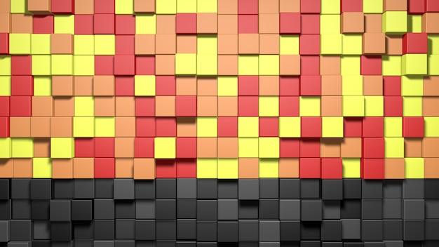 3 d の抽象的な赤、オレンジ、黄色、黒のキューブの背景