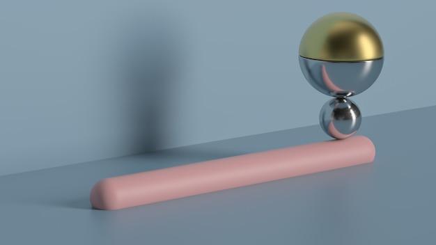 3d визуализация металлических шариков, сбалансированных на розовой круглой трубке с галтелями. минимальная геометрическая композиция.