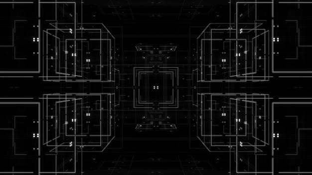 3d абстрактный фон. технологическая тема. сложные детали. линии, квадраты и свечение.
