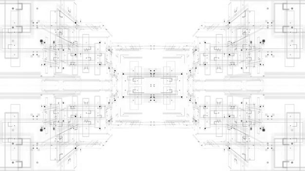 3d абстрактный фон. технологическая тема. сложные детали. линии, квадраты.