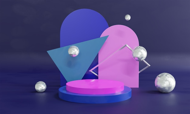 3d abstract scene background on pink and blue
