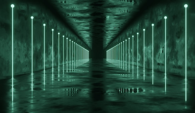 3d abstract sci-fi tunnel with green line light. 3d illustration.