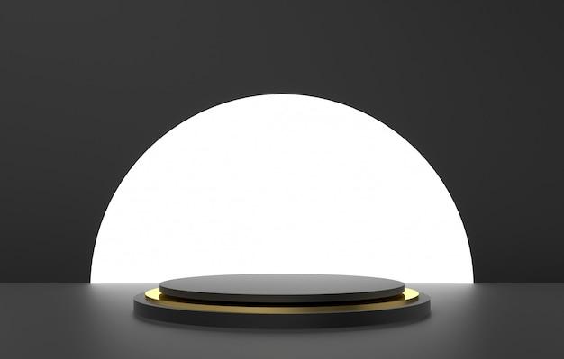 3d 추상 모양 및 형상, 검은 색과 금색 무대 배경.