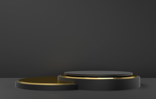 3d abstract shape and geometry, black and gold color stage background.