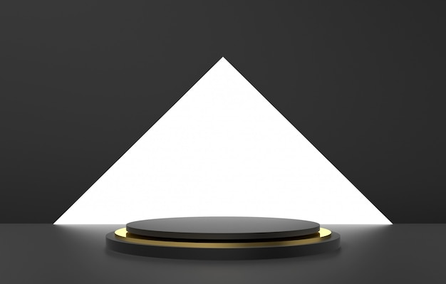 3d abstract shape and geometry, black and gold color stage background