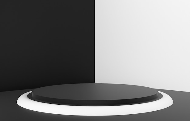 3d abstract shape and geometry, black and white color stage background.