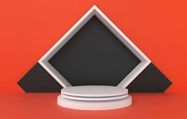 3d abstract shape and geometry, white black and orange color stage background.
