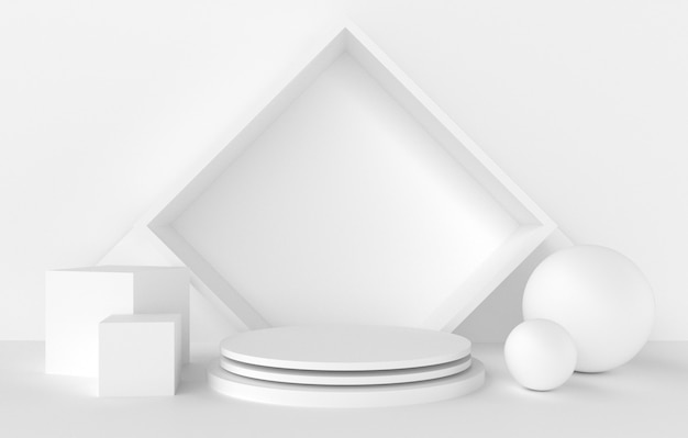 3d abstract shape and geometry, white color stage background.