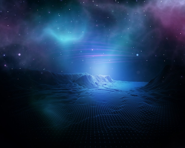 3d abstract space background with wireframe landscape