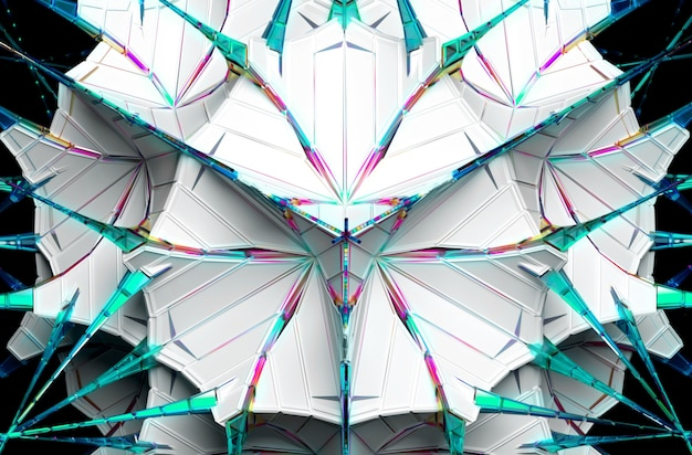 3d abstract surreal alien futuristic fractal object based on triangle pattern in spherical shape in white plastic with long spikes in glass material