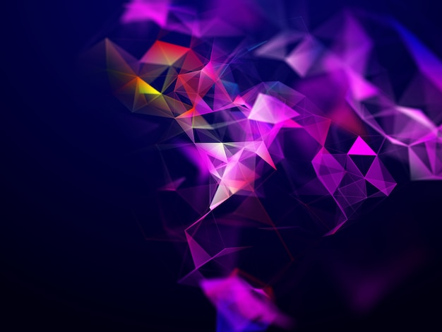 3d abstract techno background with low poly plexus design