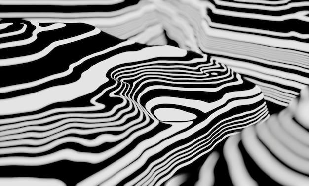 3d抽象的な地形の輪郭。黒と白の地形。