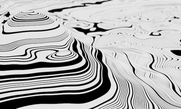 3d абстрактный топографический контур. черно-белый ландшафт.