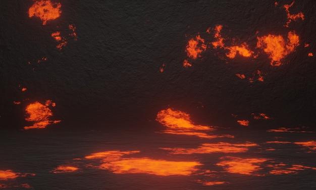 3d 추상 화산 용암 배경입니다.