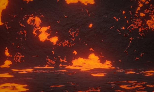 3d 추상 화산 마그마 배경입니다.