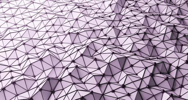 3d abstract white low poly wave background with black wireframe