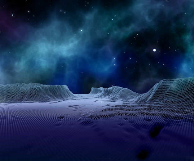 3d abstract wireframe landscape against space sky