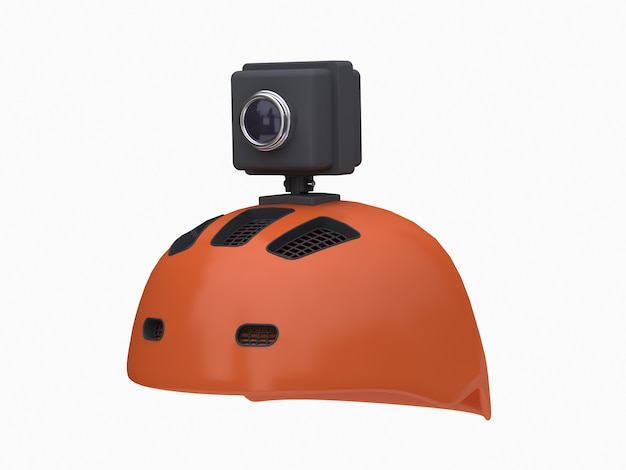 3d action camera on orange helmet white
