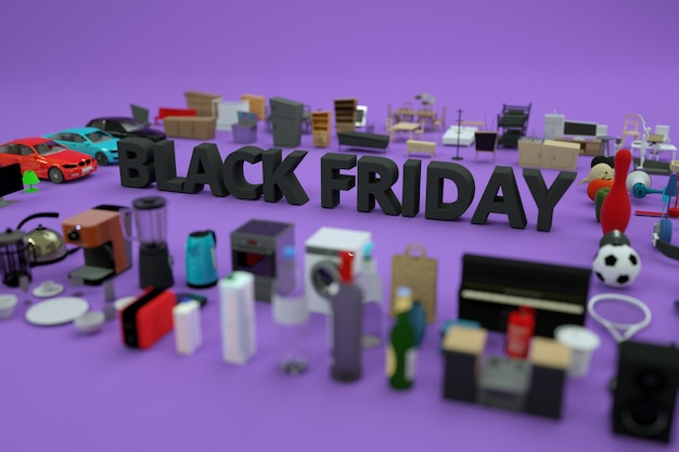 3d advertising text black friday. graphic advertising banner, there are a lot of things around. 3d model of the black friday banner. black text, letters. side view