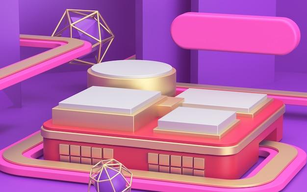 バナーの明るい背景にピンクのモックアップ表彰台と3 d広告
